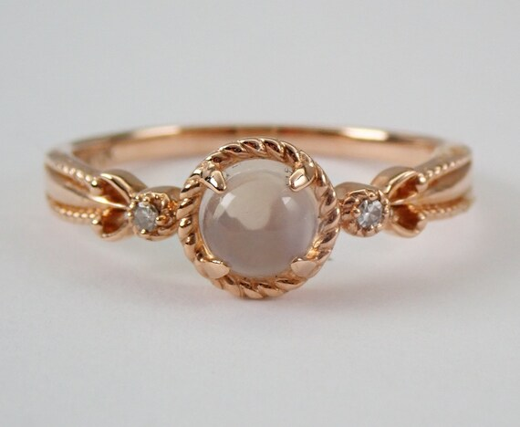 Cabochon Morganite and Diamond Petite Engagement Ring Rose Gold Size 7.25