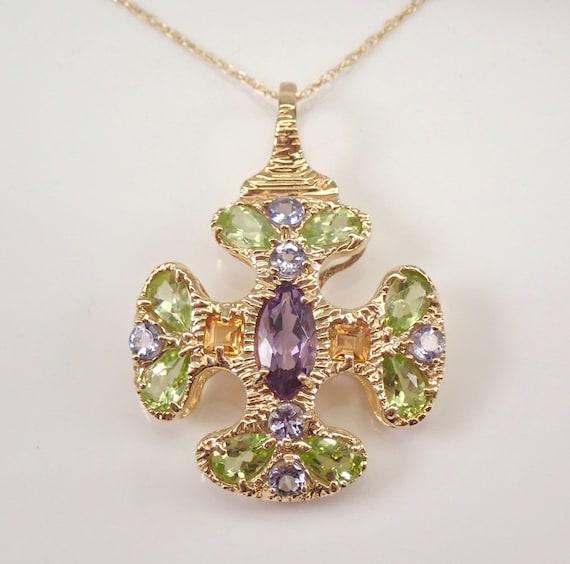 """14K Yellow Gold Amethyst Citrine Tanzanite Peridot Multi Color Cross Pendant Necklace 18"""" Chain"""