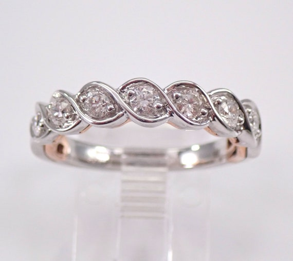 Diamond Wedding Ring Anniversary Band White and Rose Gold Stackable Sizable 1/2 ct