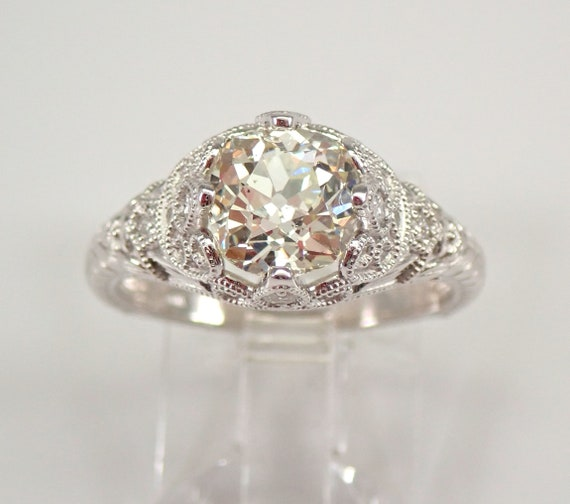 Antique Art Deco 14K White Gold 1.63 ct Cushion Cut Old Miner Diamond Engagement Ring Size 6