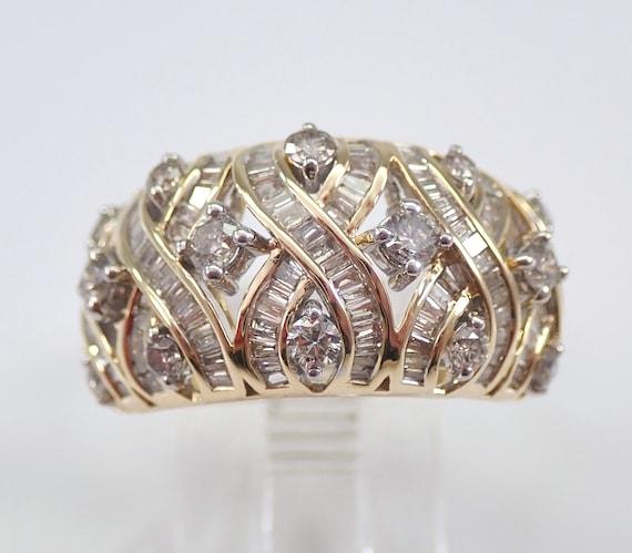 1.25 ct Diamond Wedding Ring Wide Anniversary Band 14K Yellow Gold Size 7 FREE Sizing