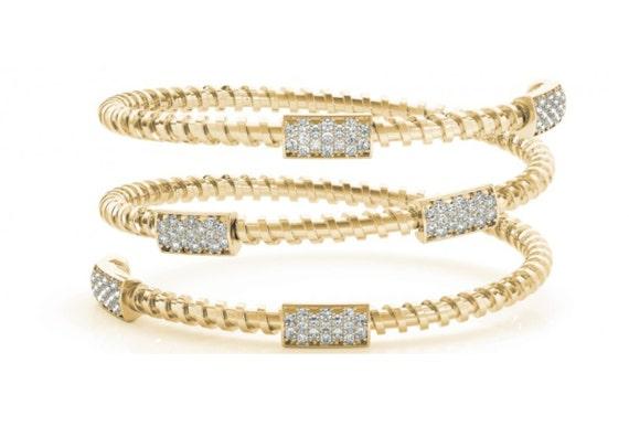 Flexible Diamond Bangle Bracelet Multi Row Crossover 14K White Yellow Rose Gold