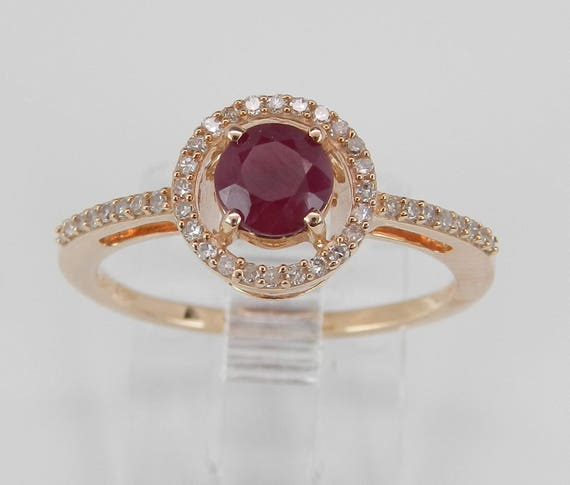 Ruby and Diamond Halo Engagement Ring Promise Rose Gold Size 6 July Birthstone