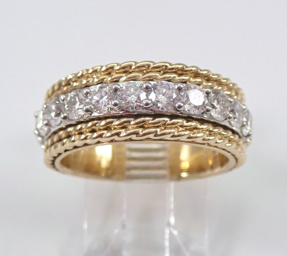 1.00 ct Diamond Wedding Ring Anniversary Band Yellow and White Gold Stackable Size 6.75 FREE SIZING