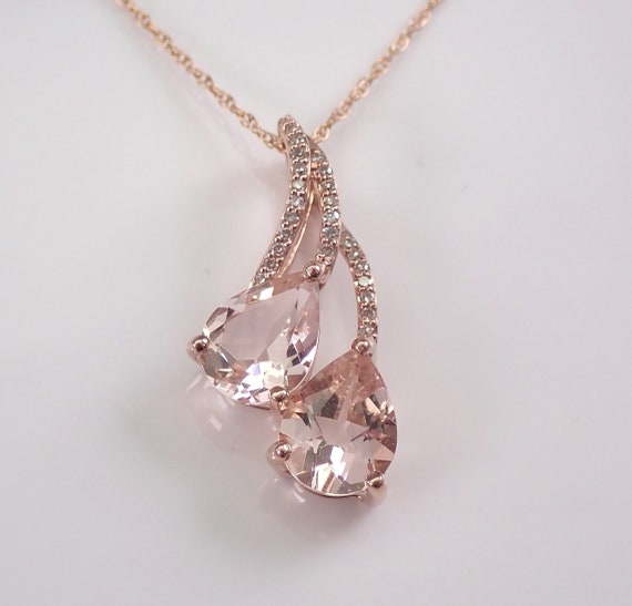 """Morganite and Diamond Pendant Necklace 18"""" Chain Rose Gold Two Stone Wedding Gift"""