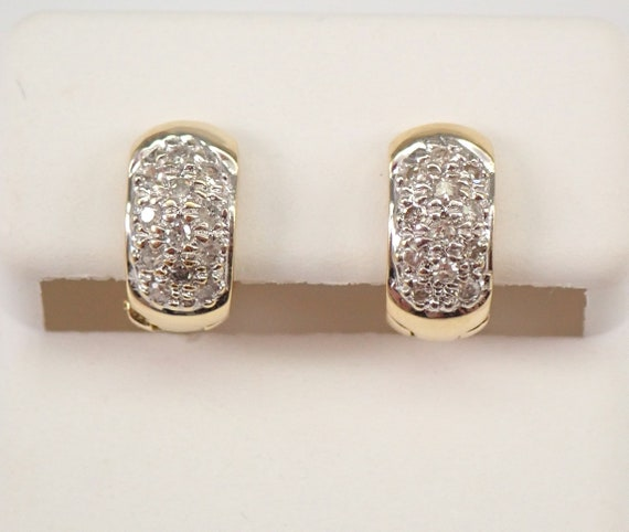 14K Yellow Gold Diamond HUGGIE Hoop Earrings Diamond Hoops Perfect Gift