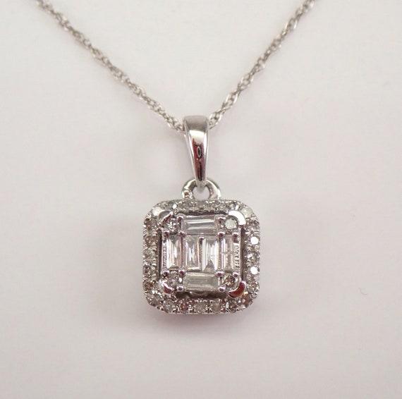 "White Gold Emerald-Cut Diamond Solitaire Pendant Cluster Halo Necklace 18"" Chain"