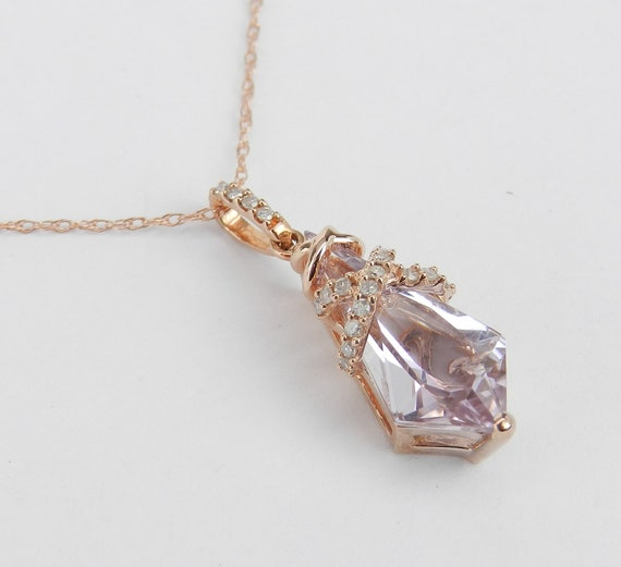 "Diamond and Amethyst Drop Pendant 18"" Rose Gold Chain Unique Necklace Rose de France"