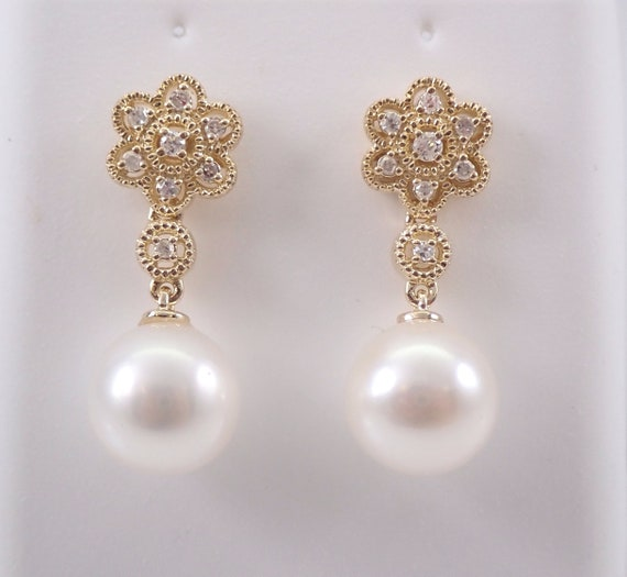 Pearl and Diamond Flower Dangle Drop Earrings 14K Yellow Gold June Birthstone Wedding Gift