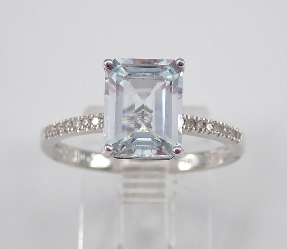 14K White Gold Diamond Emerald Cut Aquamarine Engagement Aqua Ring Size 7 March
