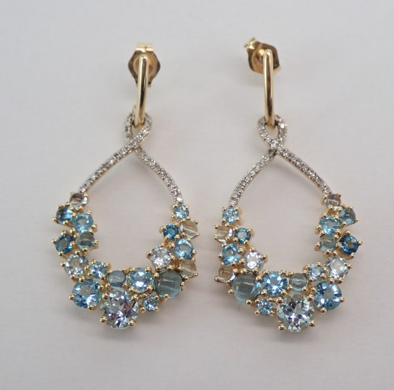 14K Yellow Gold Diamond and Blue Topaz Dangle Drop Earrings Multi Color Blue