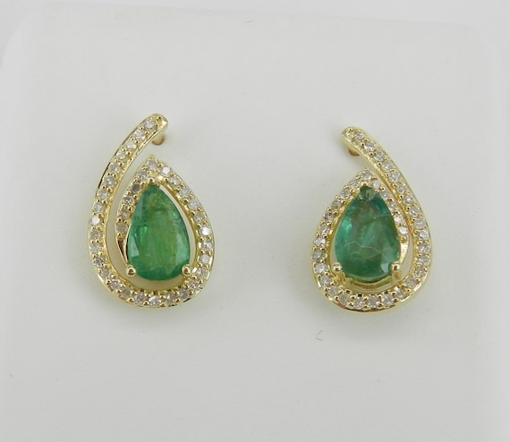 1.50 ct Emerald and Diamond Stud Earrings May Birthstone Studs Yellow Gold Earrings