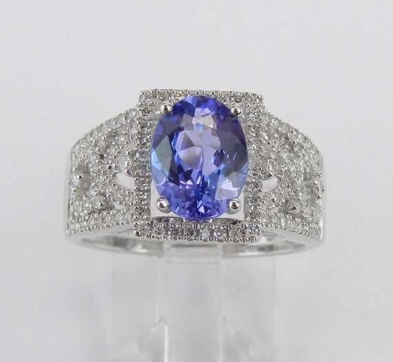 Tanzanite Halo Ring, 14K White Gold Diamond Ring, Tanzanite Engagement Ring, Wide Gemstone Anniversary Ring, Size 7