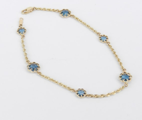 14K Yellow Gold London Blue Topaz Flower Tennis Bracelet 7.5""