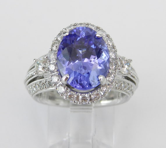 18K White Gold 5.67 ct Diamond and Tanzanite Halo Engagement Ring Size 6.25 FREE Sizing