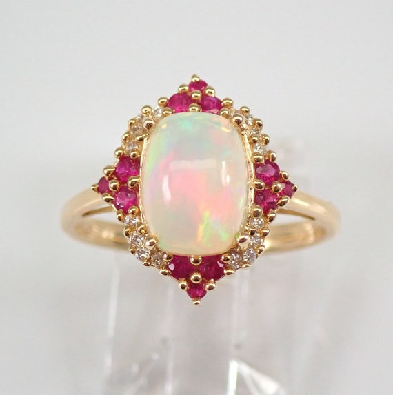 14K Yellow Gold Opal Diamond and Ruby Halo Engagement Ring Size 6.25 FREE Sizing