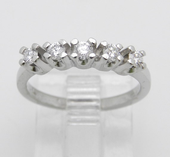 Platinum Diamond Wedding Ring, Platinum Anniversary Band, Prong Set Wedding Band, 5 Stone Diamond Ring, Size 4 F VS