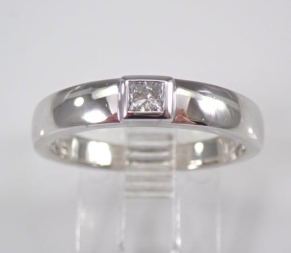 14K White Gold Princess Cut Diamond Solitaire Engagement Ring Wedding Anniversary Band FREE SIZING