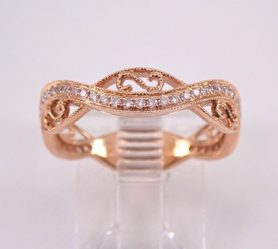 Diamond Crossover Wedding Ring Anniversary Band 18K Rose Gold Size 7 Stackable