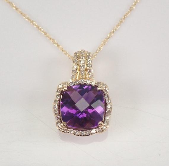 "Diamond and Cushion Cut Amethyst Halo Pendant Necklace 14K Yellow Gold 18"" Chain February Birthstone"