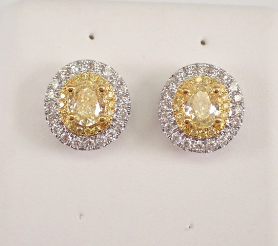 18K White Gold Oval CANARY Diamond Stud Earrings Halo Studs MUST SEE