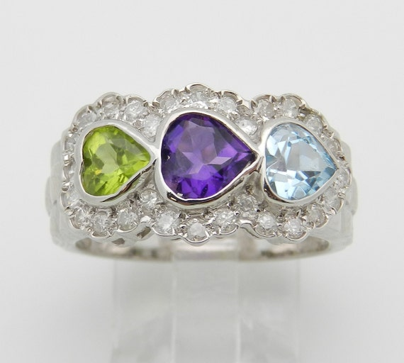 Heart Amethyst Peridot Blue Topaz Diamond 3 Stone Ring 14K White Gold Size 6.75