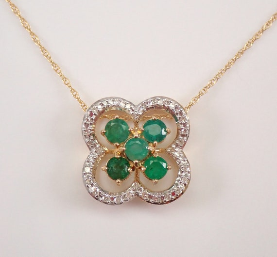 """14K Yellow Gold Emerald and Diamond Pendant Flower Necklace 18"""" Chain May Gemstone"""