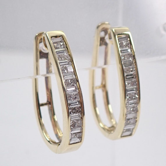 14K Yellow Gold Princess Cut and Baguette Diamond Hoop Earrings Hoops 1.00 ct