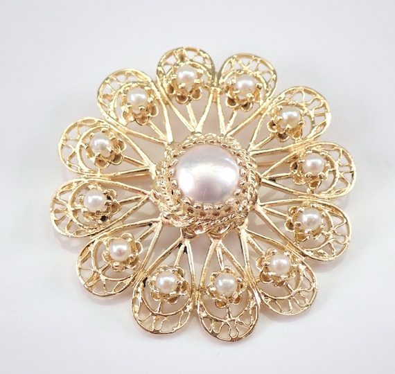 Vintage Antique 14K Yellow Gold Pearl Circle Cluster Brooch Pin Pendant Circa 1970's