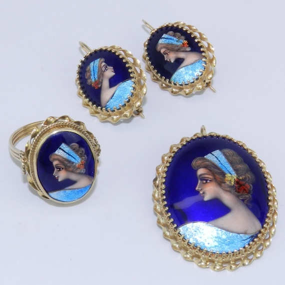 Antique 14K Gold French Hand Painted Unique Earrings Ring Brooch Pin Pendant Set