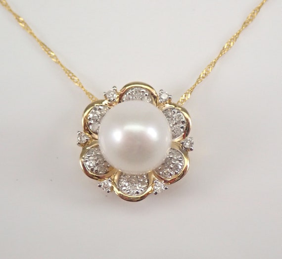 """14K Yellow Gold Diamond and Pearl Halo Flower Pendant Necklace with Chain 18"""" June Gemstone"""