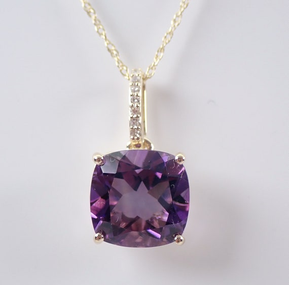"""Diamond and Amethyst Solitaire Necklace Pendant 18"""" Yellow Gold Chain Cushion Cut February Birthstone"""