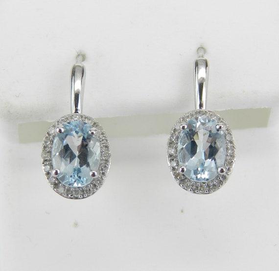 14K White Gold Aquamarine and Diamond Halo Drop Earrings Aqua Gemstone Leverback