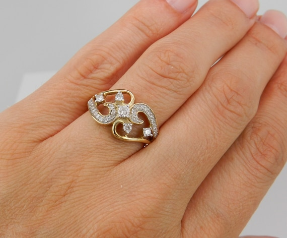 Diamond Ring Yellow Gold Ring Womens Ladies Lady's 1/2 ct Statement Right Hand Ring Size 7