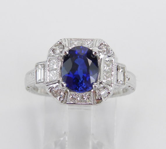 Vintage Style Ring, 18K White Gold Ring, Diamond and Sapphire Ring, Antique Style Sapphire Ring, Chatham Sapphire Ring, Hand Engraved Ring