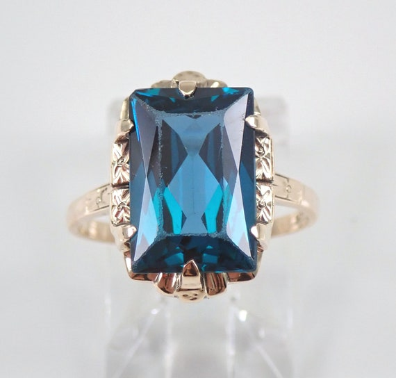 Antique Yellow Gold Emerald Cut Blue Topaz Solitaire Engagement Ring Size 5.75