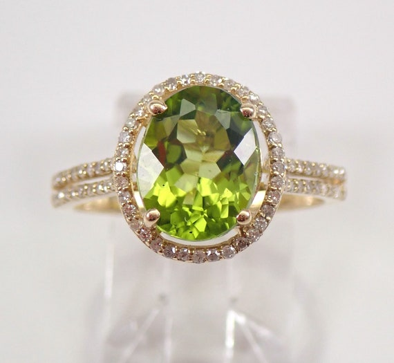 2.65 ct Peridot and Diamond Halo Engagement Ring Yellow Gold Size 7 August Birthstone FREE Sizing