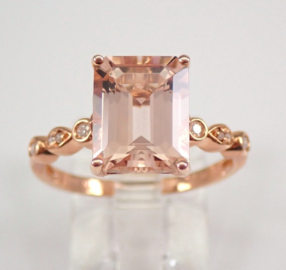 2.58 ct Emerald Cut Morganite and Diamond Engagement Ring Rose Gold Size 7 FREE Sizing