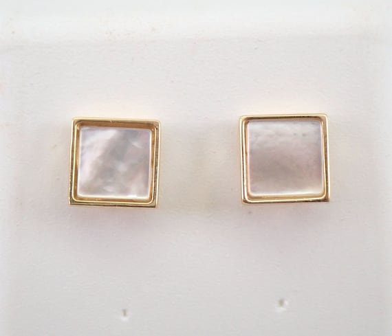 14K Yellow Gold Mother of Pearl Stud Earrings Square Studs Buttons