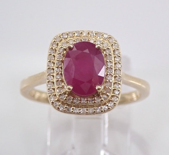 Ruby and Diamond Halo Engagement Ring 14K Yellow Gold Size 7 July Birthstone Ring, Ruby Ring