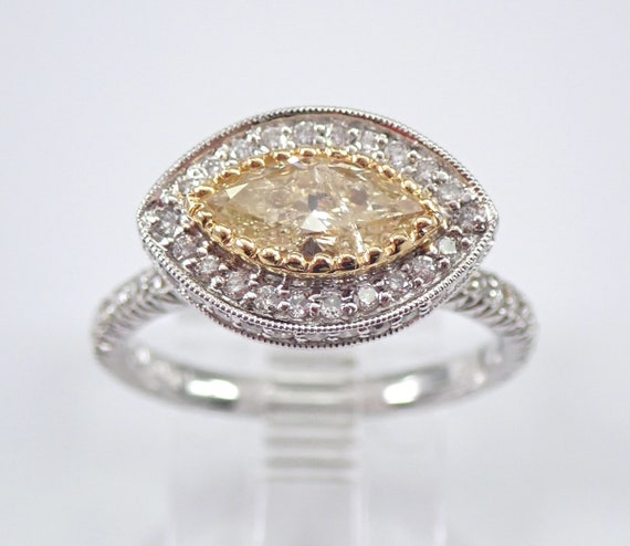 18K White Gold Canary Diamond Halo Engagement Eternity Ring Size 6.75 Evil Eye Ring