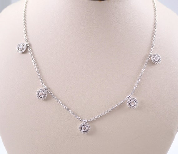 """18K White Gold Diamond Halo Necklace 17"""" Chain 1.09 ct Cluster Drop Choker Round Diamonds by the Yard"""
