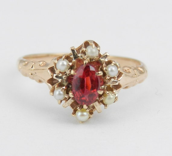 Antique Vintage 14K Yellow Gold Rubelite and Pearl Cocktail Ring Size 4.5