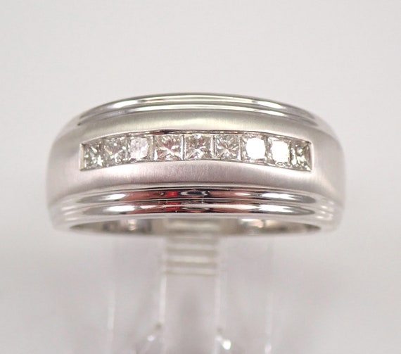 Mens Princess Cut Diamond Wedding Ring Anniversary Band White Gold Size 10.25