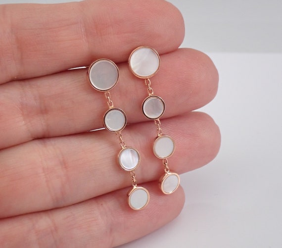 14K Rose Gold Mother of Pearl Dangle Drop Earrings Round Pink Unique Gift