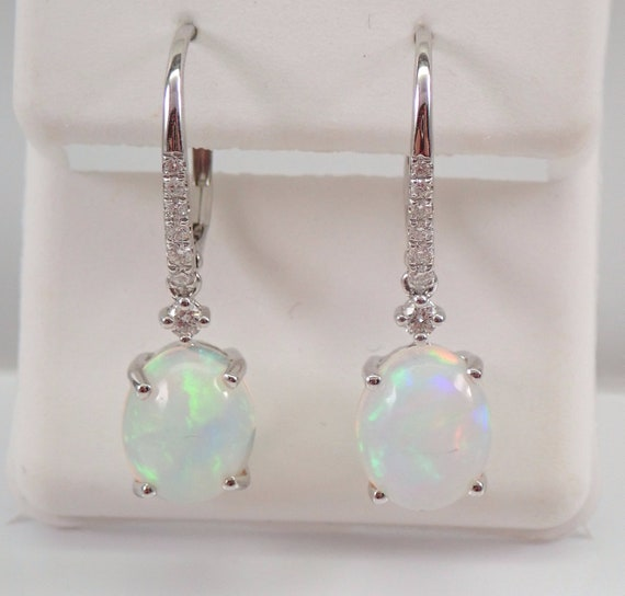 14K White Gold 3.33 ct Opal and Diamond Dangle Drop Earrings October Gemstone