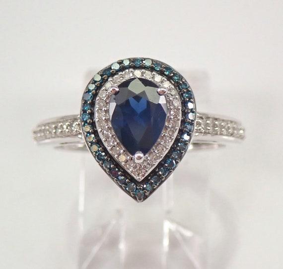 14K White Gold Blue Diamond and Pear Sapphire Double Halo Engagement Ring Size 7 September Gemstone FREE Sizing