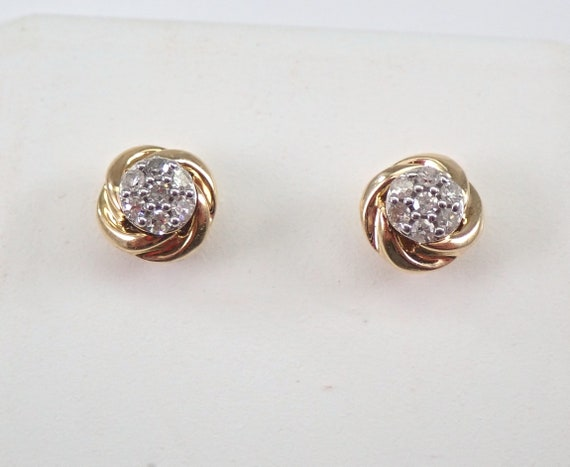 14K Yellow Gold Diamond Studs Cluster Stud Earrings Bridesmaid Gift Wedding Gift