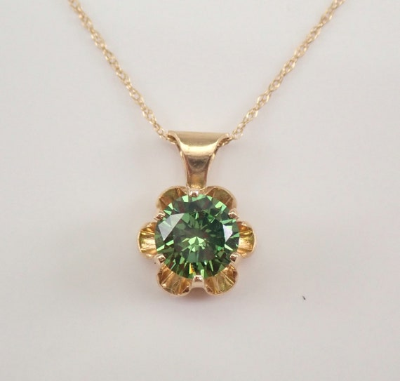 """Vintage 14K Yellow Gold Green CZ Buttercup Solitaire Pendant Necklace 18"""" Chain"""