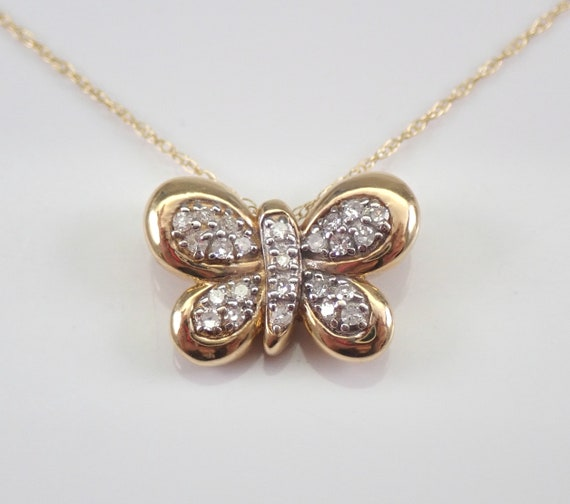 "Diamond Butterfly Pendant 14K Yellow Gold Necklace Chain 18"" Wedding Gift"